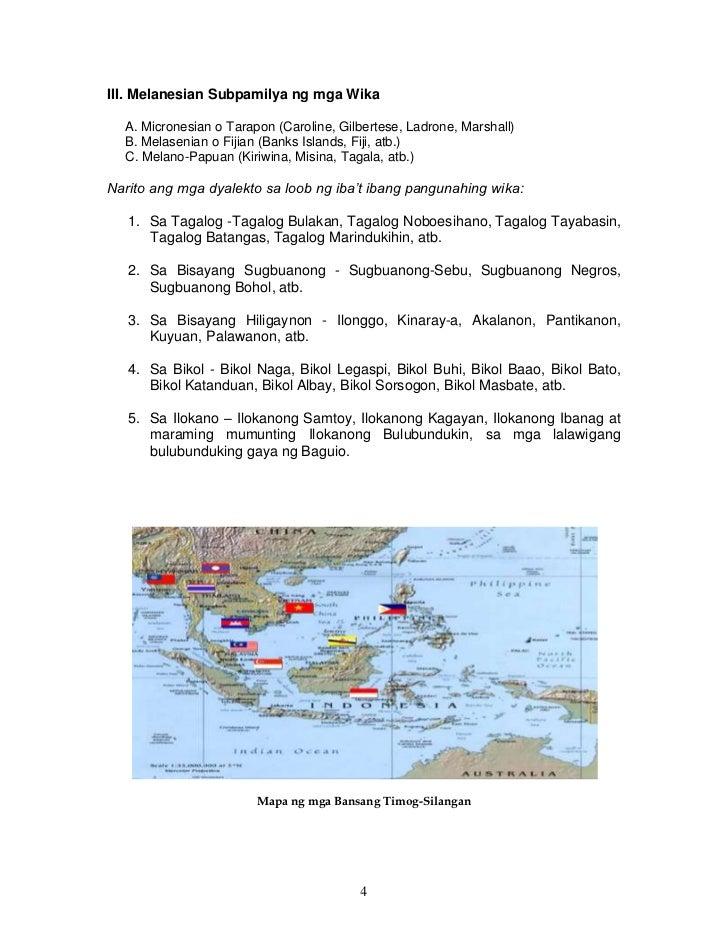 III. Melanesian Subpamilya ng mga Wika  A. Micronesian o Tarapon (Caroline, Gilbertese, Ladrone, Marshall)  B. Melasenian ...