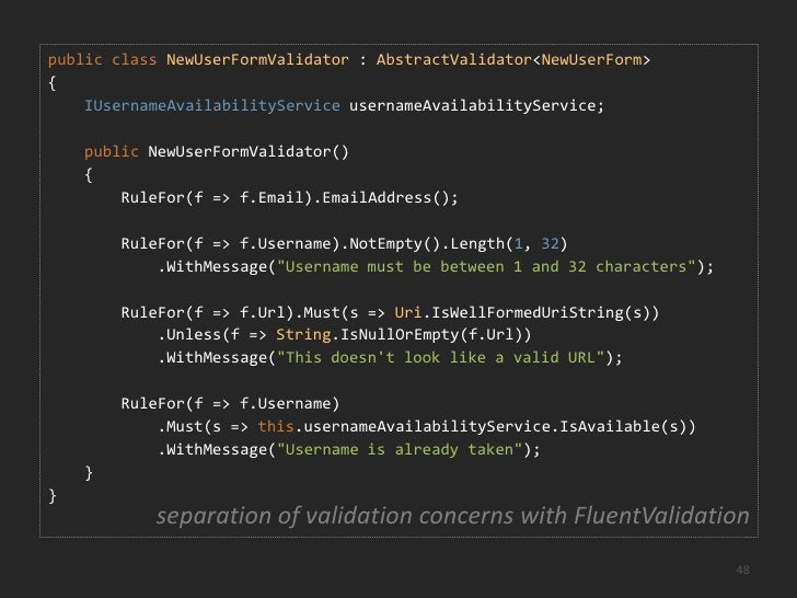 The golden rule for validation:<br />The Domain Model is always <br />in a valid state<br />