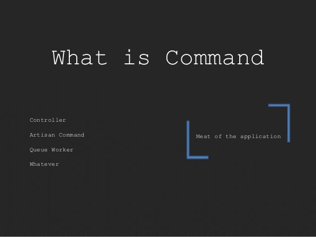 What is Command  Meat of the application  Controller  Artisan Command  Queue Worker  Whatever