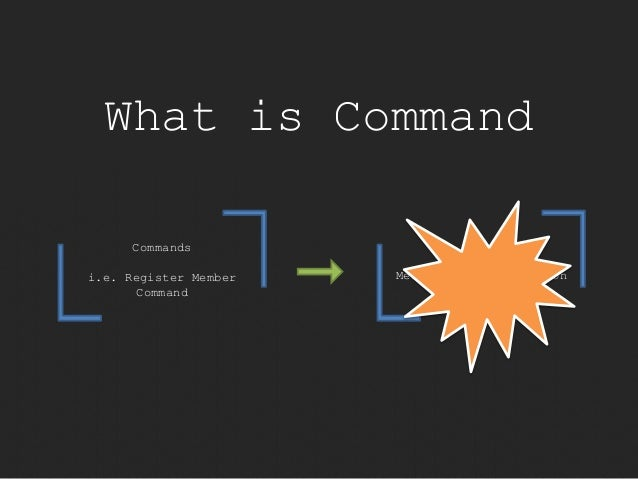 What is Command  Meat of the application  Commands  i.e. Register Member  Command
