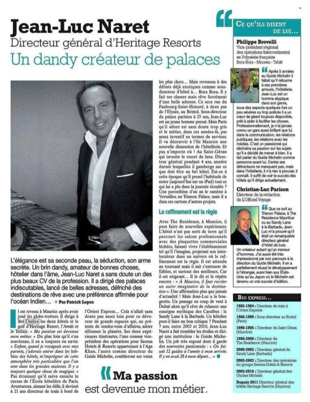 Domaine bel Ombre, Quotidien du tourisme Nov 2012
