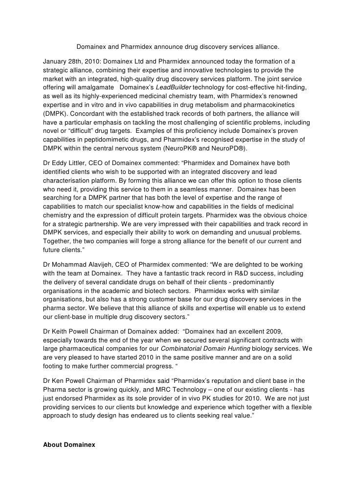 Domainex and Pharmidex announce drug discovery services alliance.  January 28th, 2010: Domainex Ltd and Pharmidex announce...