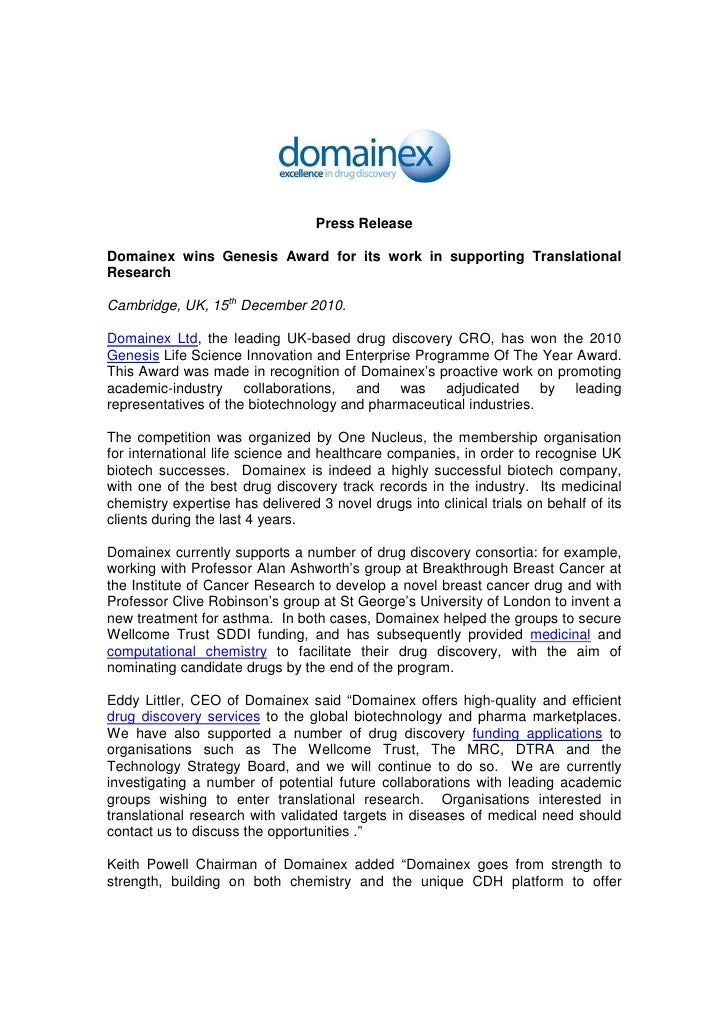 Press ReleaseDomainex wins Genesis Award for its work in supporting TranslationalResearchCambridge, UK, 15th December 2010...