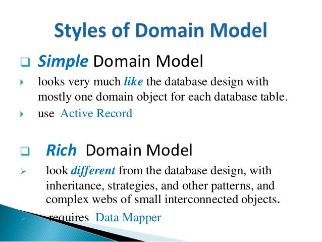  Simple Domain Model  looks very much like the database design with mostly one domain object for each database table.  ...