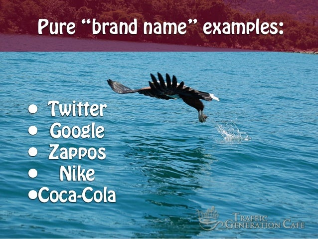 """Pure """"brand name"""" examples:  • Twitter • Google • Zappos • Nike •Coca-Cola"""