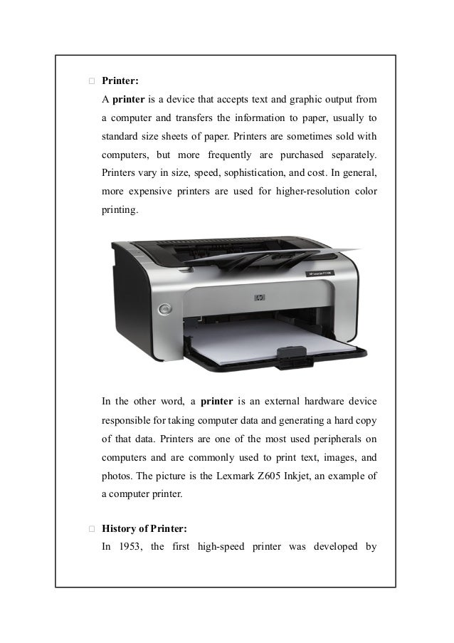 assignment on printer