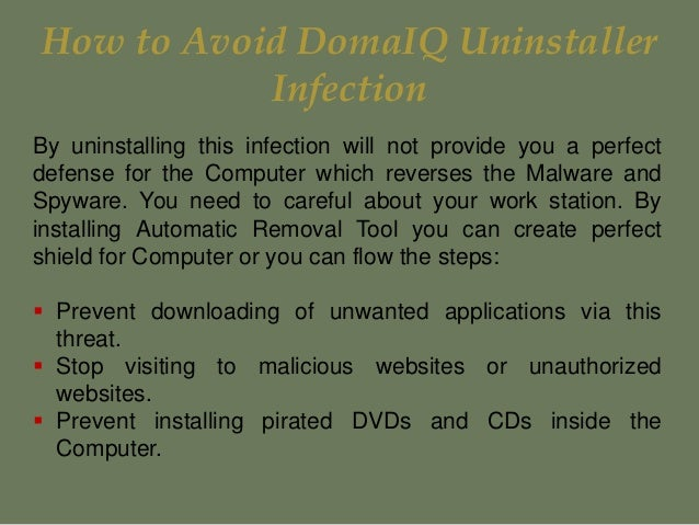 Best process to uninstall DomaIQ Uninstaller