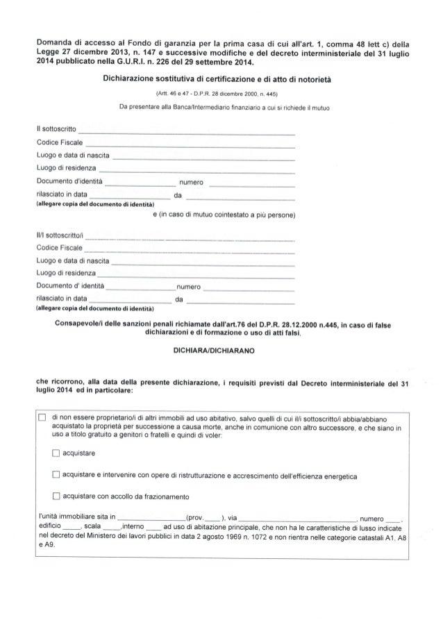 Domanda di accesso al fondo di garanzia prima casa - Costo atto prima casa ...