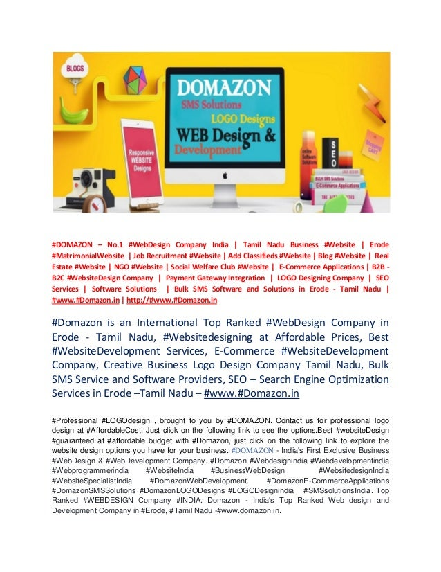 domazon top ranked web design and web development company in erode
