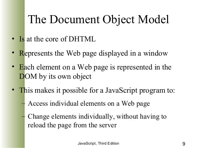 document object model process The svg dom allows attributes to be accessed even though they haven't been specified explicitly in the document  the document object model  process the event.