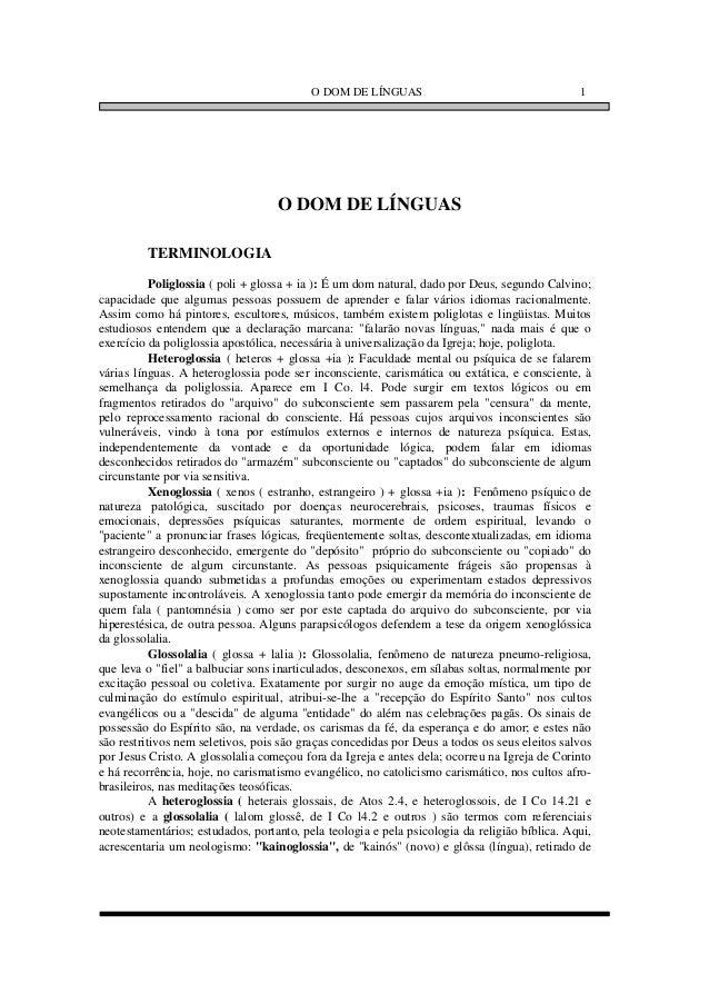 O DOM DE LÍNGUAS                                     1                                   O DOM DE LÍNGUAS         TERMINOL...