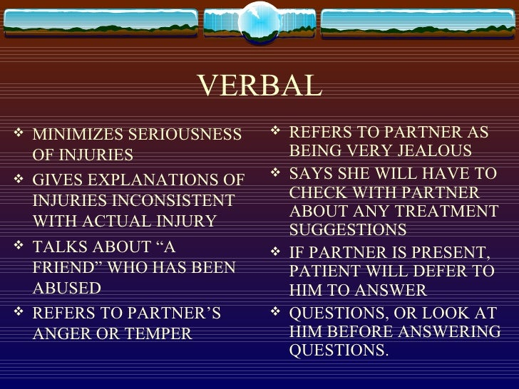 Wealth Verbal Of Abuse Symptoms And Signs can avail