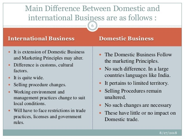 difference between domestic and international business class 11