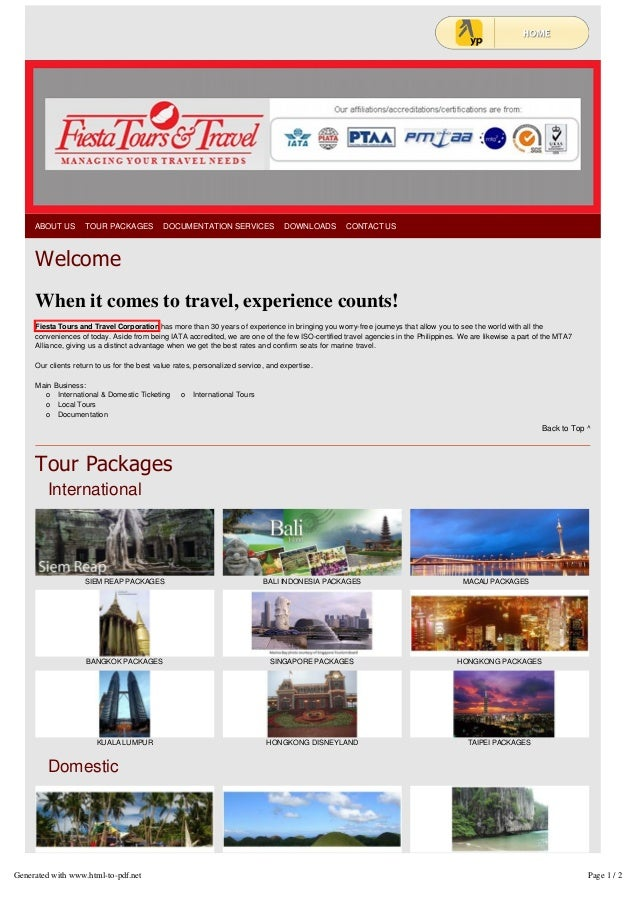 Domestic And International Tours Fiesta Tours And Travel
