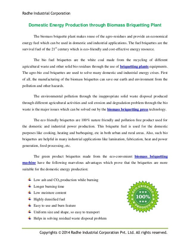 Radhe Industrial Corporation Copyrights © 2014 Radhe Industrial Corporation Pvt. Ltd. All rights reserved. Domestic Energy...