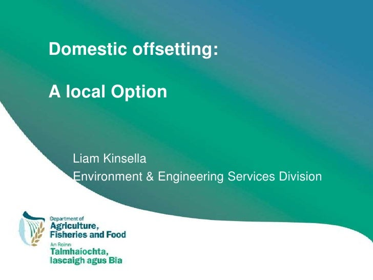 Domestic offsetting:  A local Option     Liam Kinsella   Environment & Engineering Services Division
