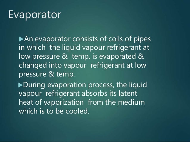 Evaporator An evaporator consists of coils of pipes in which the liquid vapour refrigerant at low pressure & temp. is eva...