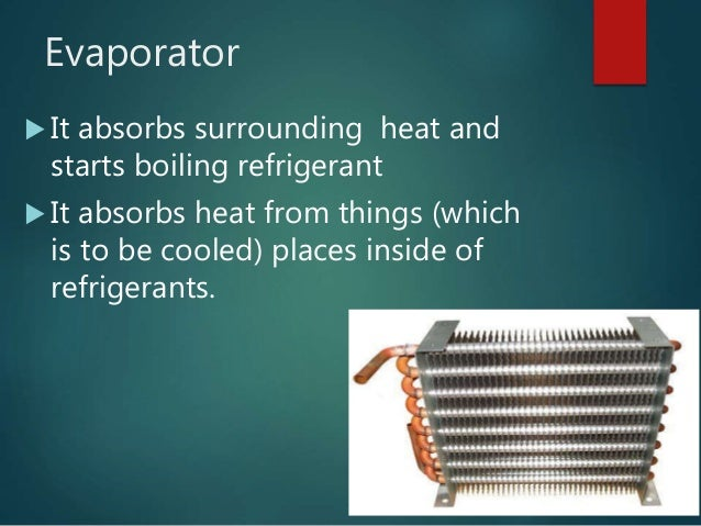 Evaporator  It absorbs surrounding heat and starts boiling refrigerant  It absorbs heat from things (which is to be cool...