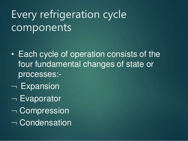 Every refrigeration cycle components • Each cycle of operation consists of the four fundamental changes of state or proces...