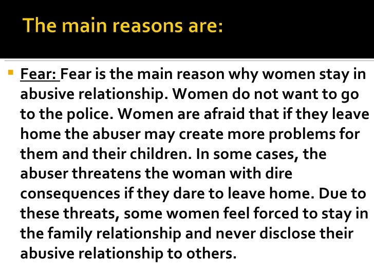 Eight Reasons Women Stay in Abusive Relationships