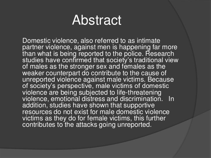 Male victims of domestic violence dissertation