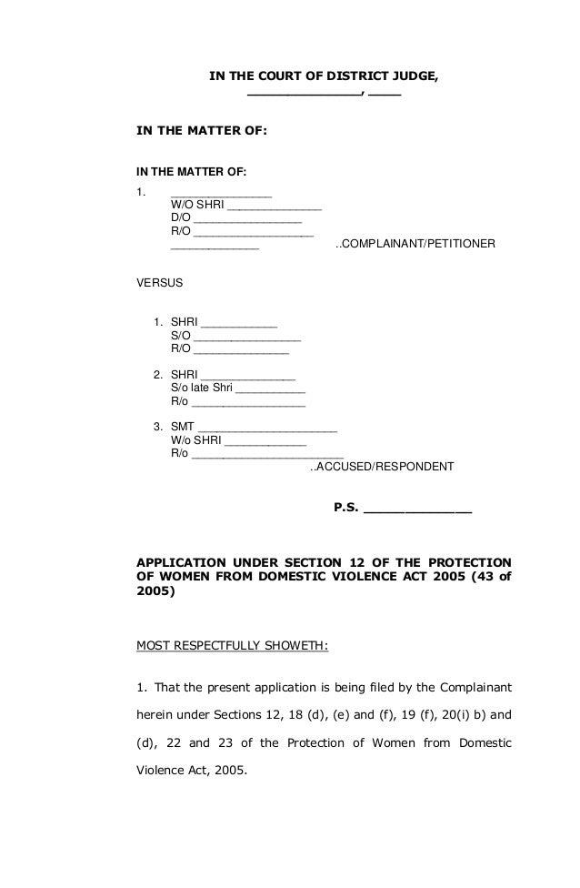 Domestic violence complaint format under section 12 – Complaint Format