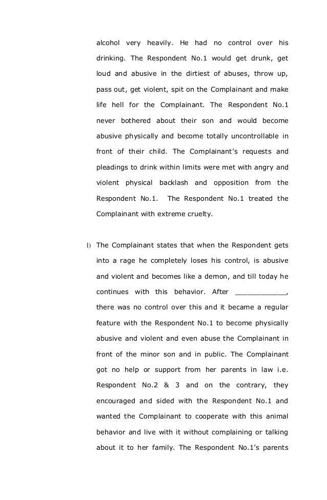 domestic violence complaint format under section   7 alcohol