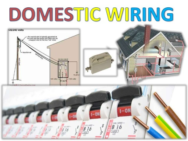 DOMESTIC WIRING  Domestic wiring may be defined as:  Wiring done in domestic premises (houses), for providing  electrical ...