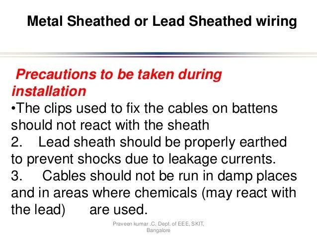 Bangalore 15 Metal Sheathed Or Lead Wiring