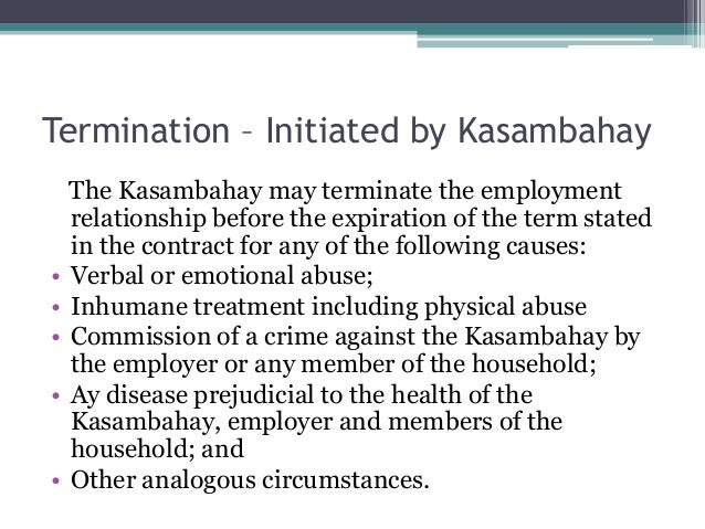 domestic workers act worker termination letter example south africa