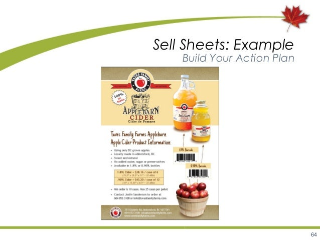64 Sell Sheets: Example Build Your Action Plan ...