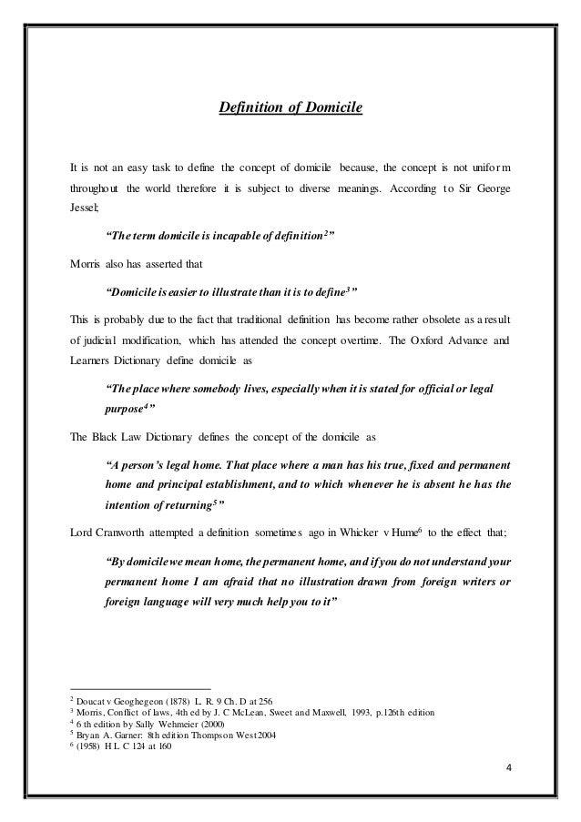 P 49; 5. 4 Definition Of Domicile ...