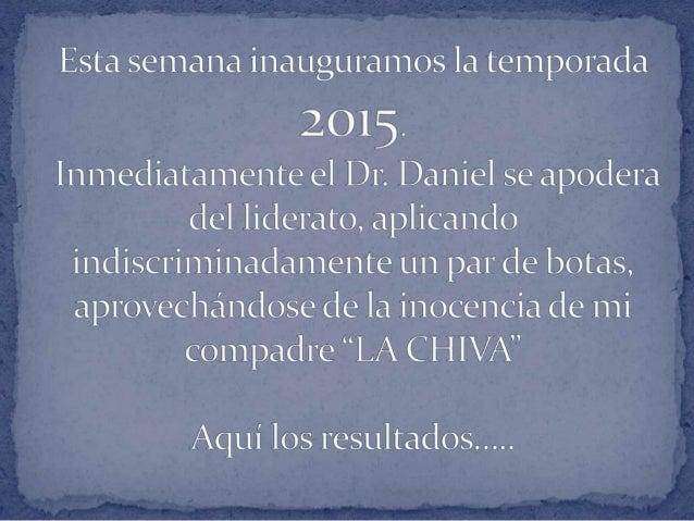 Esta semana inauguramos la temporada  201 Inmediatamente el Dr.  Daniel se apodera del liderato,  aplicando  indiscriminad...