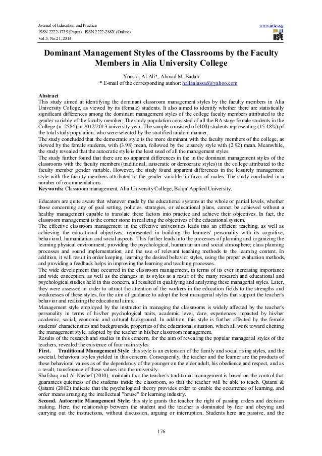 Journal of Education and Practice www.iiste.org ISSN 2222-1735 (Paper) ISSN 2222-288X (Online) Vol.5, No.21, 2014 176 Domi...
