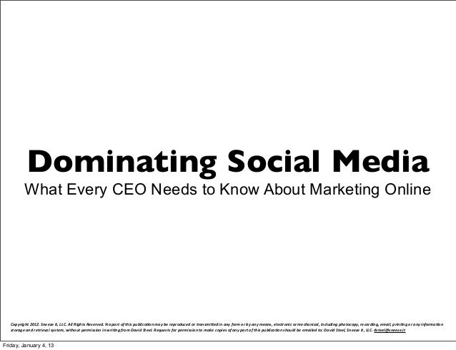 Dominating Social Media             What Every CEO Needs to Know About Marketing Online   Copyright 2012. Sneeze It,...