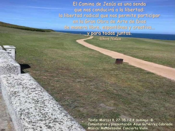 El Camino de Jesús es una senda        que nos conducirá a la libertad:la libertad radical que nos permite participar     ...