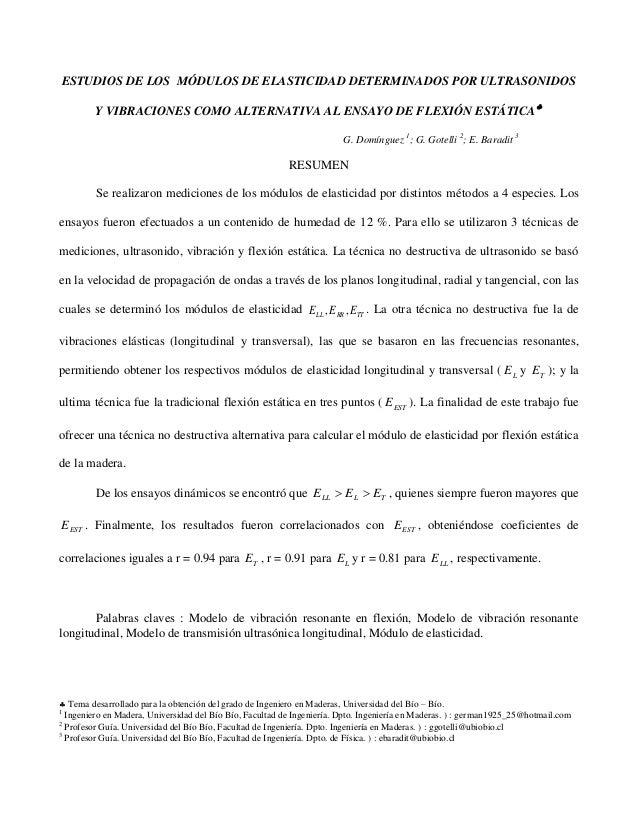 Determinación Modulos Elasticidad En La Madera Mediante