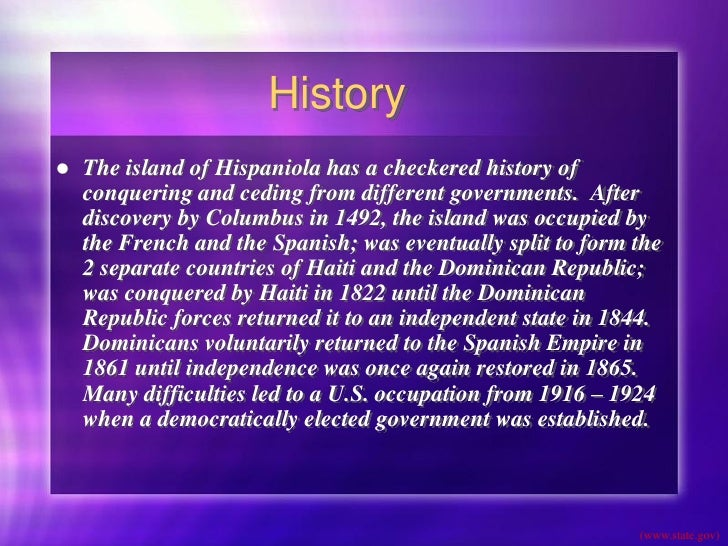 history of the dominican republic Guide to dominican republic ancestry, family history and genealogy: birth  records, marriage records, death records, census records, family.