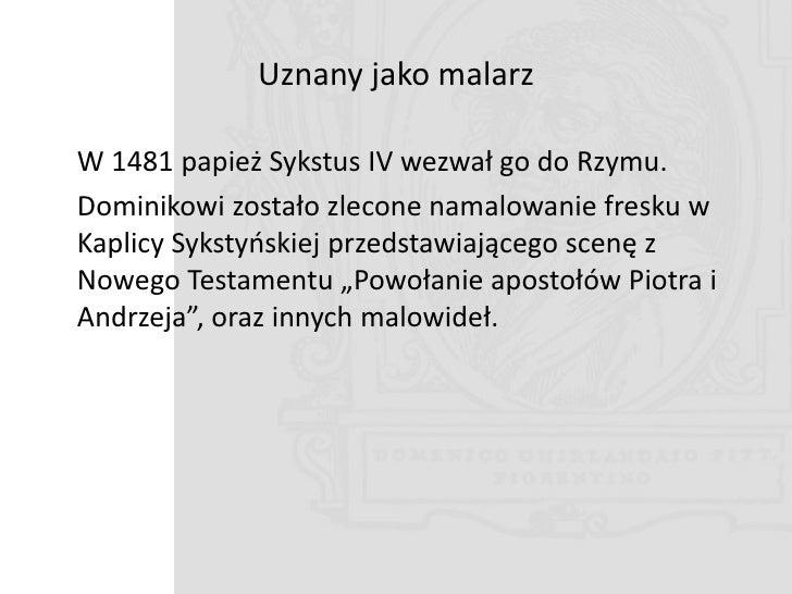 """Kaplica Sykstyoska """"Powołanie Piotra i Andrzeja na apostołów"""""""
