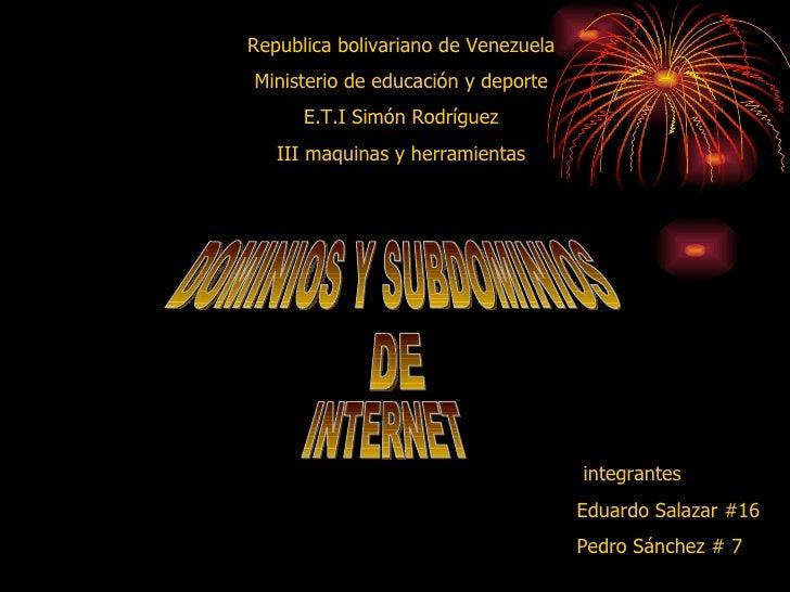 Republica bolivariano de Venezuela  Ministerio de educación y deporte  E.T.I Simón Rodríguez  III maquinas y herramientas ...