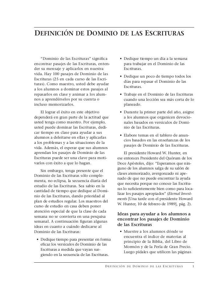 """DEFINICIÓN DE DOMINIO DE LAS ESCRITURAS       """"Dominio de las Escrituras"""" significa            • Dedique tiempo un día a l..."""