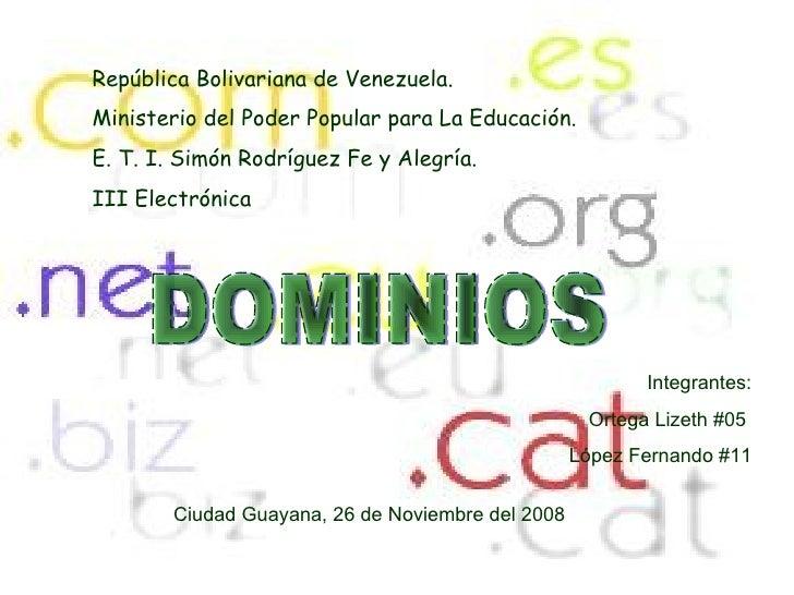 República Bolivariana de Venezuela. Ministerio del Poder Popular para La Educación. E. T. I. Simón Rodríguez Fe y Alegría....