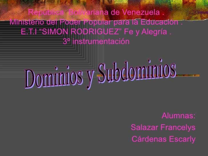 """República  Bolivariana de Venezuela . Ministerio del Poder Popular para la Educación . E.T.I """"SIMON RODRIGUEZ"""" Fe y Alegrí..."""