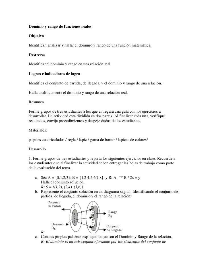 Dominio y rango de funciones reales 11