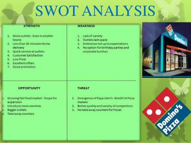swot analysis of dominos pizza The case described below is about domino's pizza and its position in the market by analyzing it through different framework of analysis like the swot and the porter's five forces.