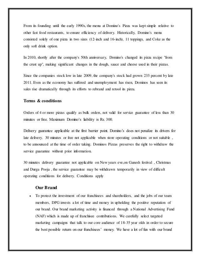 Dominos marketing project