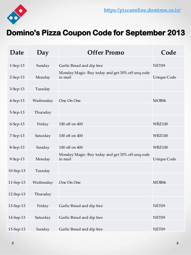 Domino's Pizza Coupon Code for September 2013