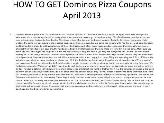 picture regarding Printable Dominos identify Dominos Pizza Discount codes April 2013 - Printable Dominos Pizza