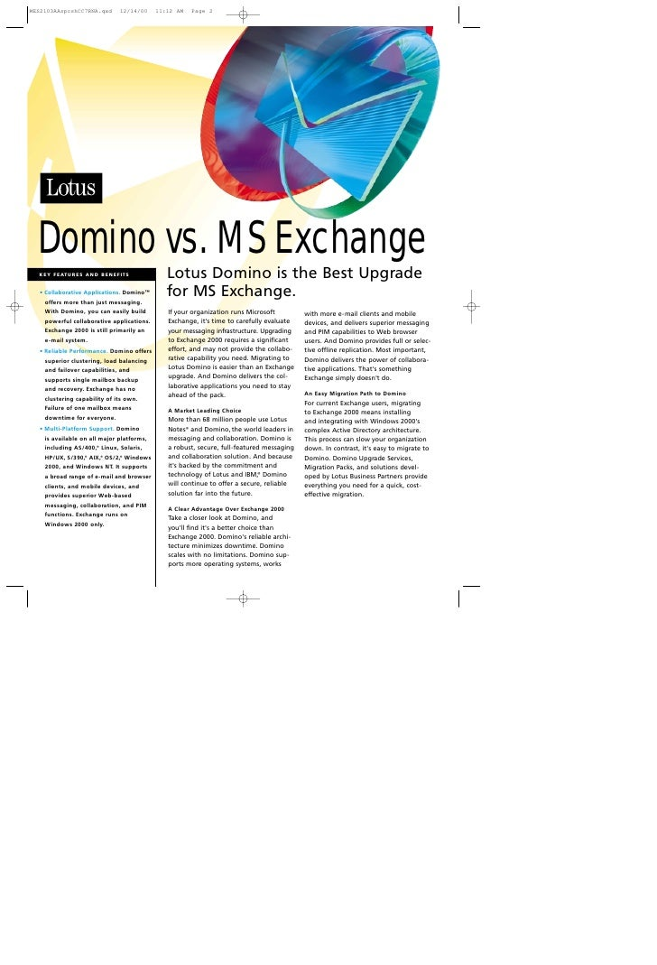 Domino vs. MS Exchange                                         Lotus Domino is the Best Upgrade KEY FEATURES AND BENEFITS ...