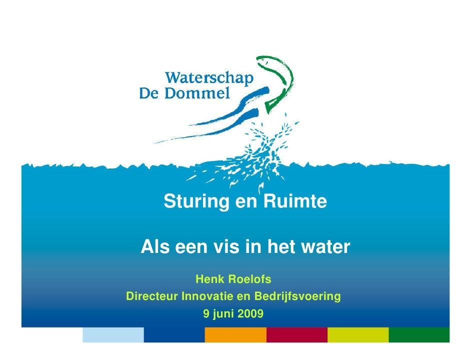 Sturing en Ruimte    Als een vis in het water             Henk Roelofs Directeur Innovatie en Bedrijfsvoering             ...